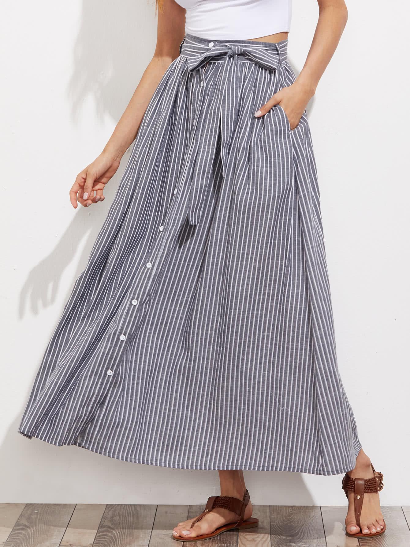 Self Tie Hidden Pocket Detail Button Up Pinstripe Skirt gold button detail bodycon skirt