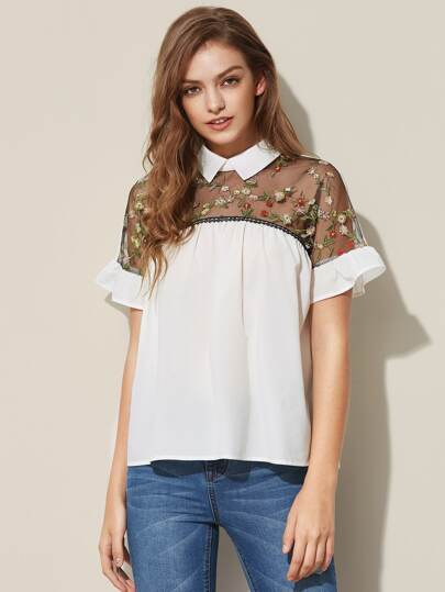 Embroidered Sheer Neck Ruffle Cuff Tie Back Top