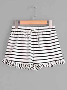 Drawstring Waist Frill Hem Striped Jersey Shorts