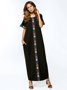 Contrast Embroidered Tape Detailed Maxi Dress