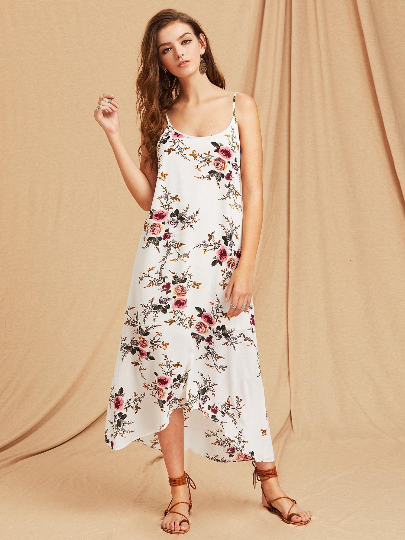 Botanical Print Scoop Back High Low Flowy Cami Dress