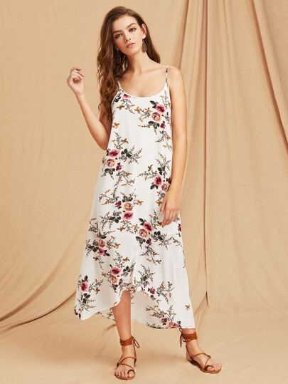 Botanical Print Scoop Back High Low Flowy Cami Dress