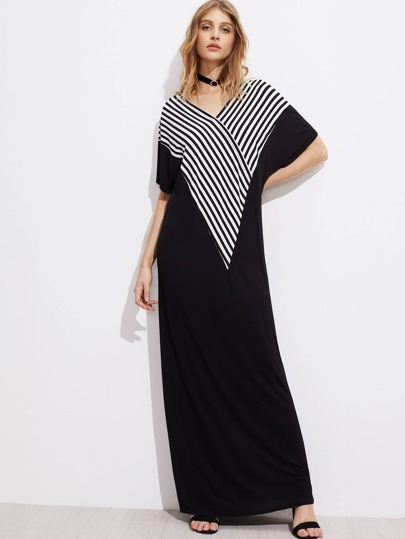 V-neckline Striped Panel Kaftan Dress