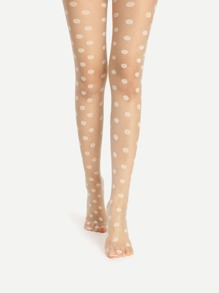 Collants transparent imprimé des pois