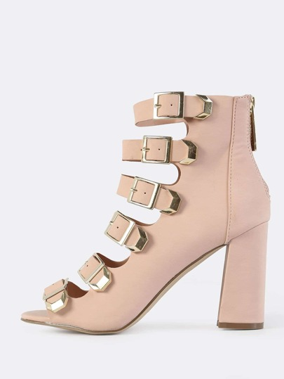 Multi Buckle Peep Toe Booties BLUSH