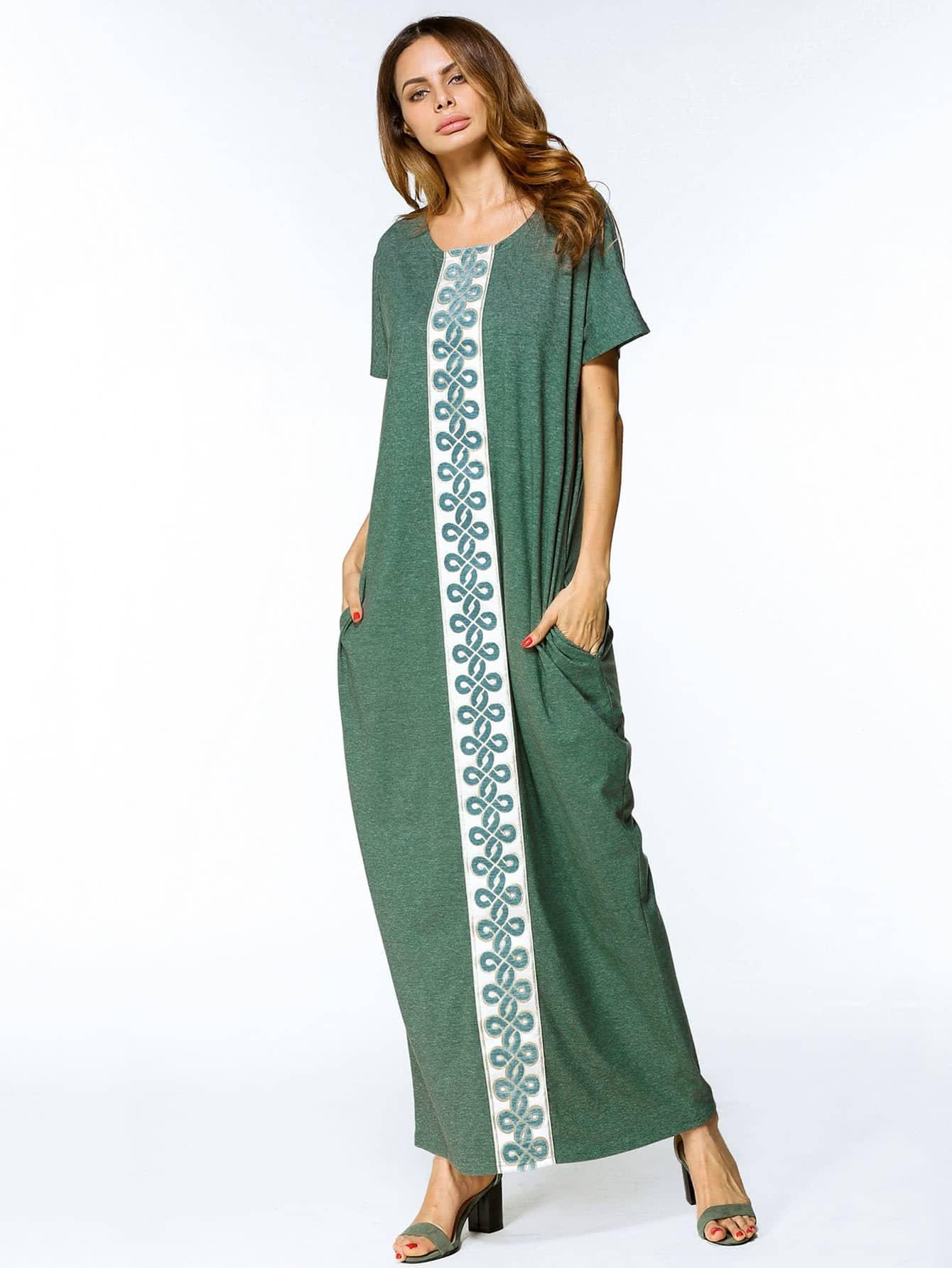 Фото Contrast Panel Embroidered Tape Detail Cocoon Dress. Купить с доставкой