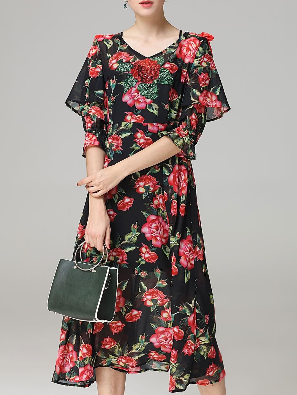 Фото V Neck Sequined Flowers Print Dress. Купить с доставкой