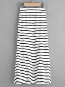 Falda de rayas con cintura elástica y abertura en la parte lateral