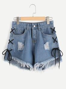 Pantaloni in jeans con fianchi laterali