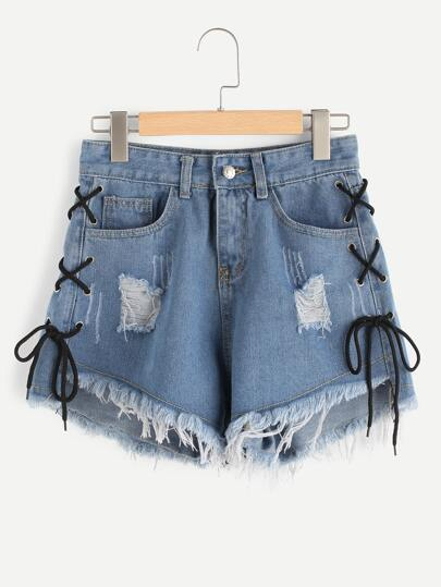 Eyelet Lace Up Side Frayed Hem Denim Shorts
