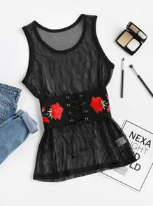 Fishnet Tank Top With Lace Up Embroidered Corset Belt
