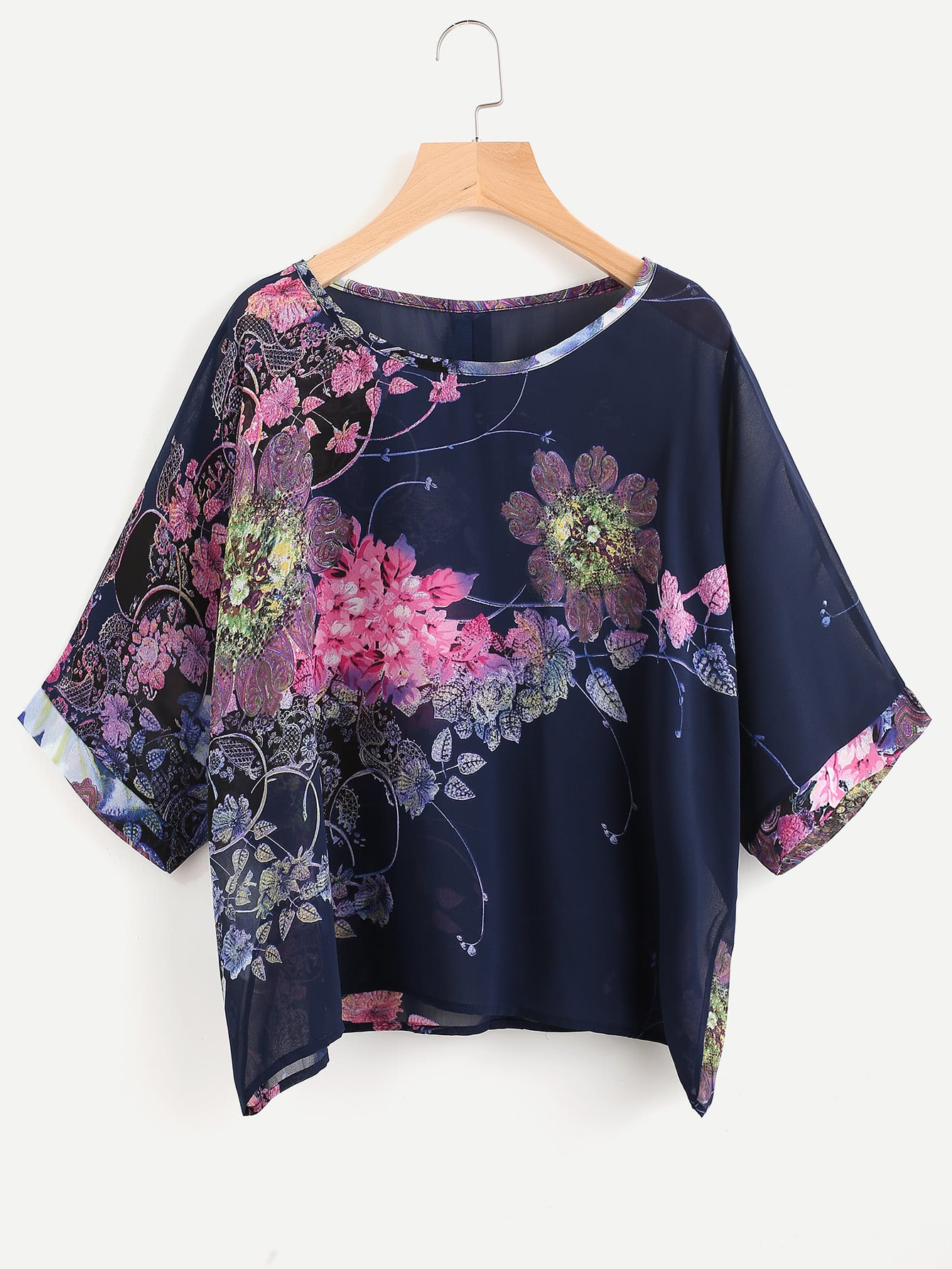 Floral Print Button Back Chiffon Blouse