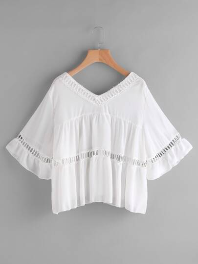 Hollow Out Lace Insert Smock Top