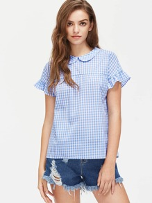 Peter Pan Collar Keyhole Tie Back Frill Gingham Top