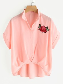 Rose Embroidered Dip Hem Shirt