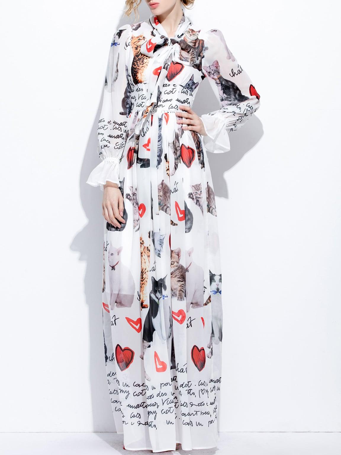 Фото Bowtie Cats Hearts Print Bell Sleeve Dress. Купить с доставкой