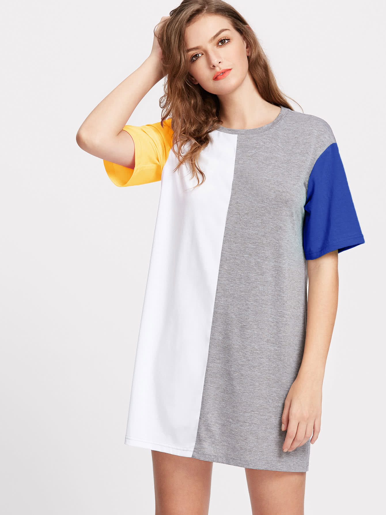 Color Block Cut And Sew Tee Dress cut and sew zip back pencil dress