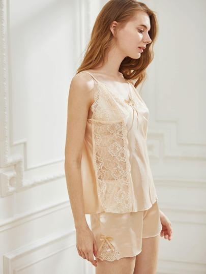 pyjama en dentelle avec n uds papillon french shein sheinside. Black Bedroom Furniture Sets. Home Design Ideas
