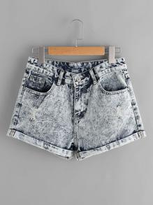 Jeansshorts in gebleichter Waschung