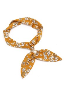 Calico Print Twilly Scarf With Faux Pearl Tie