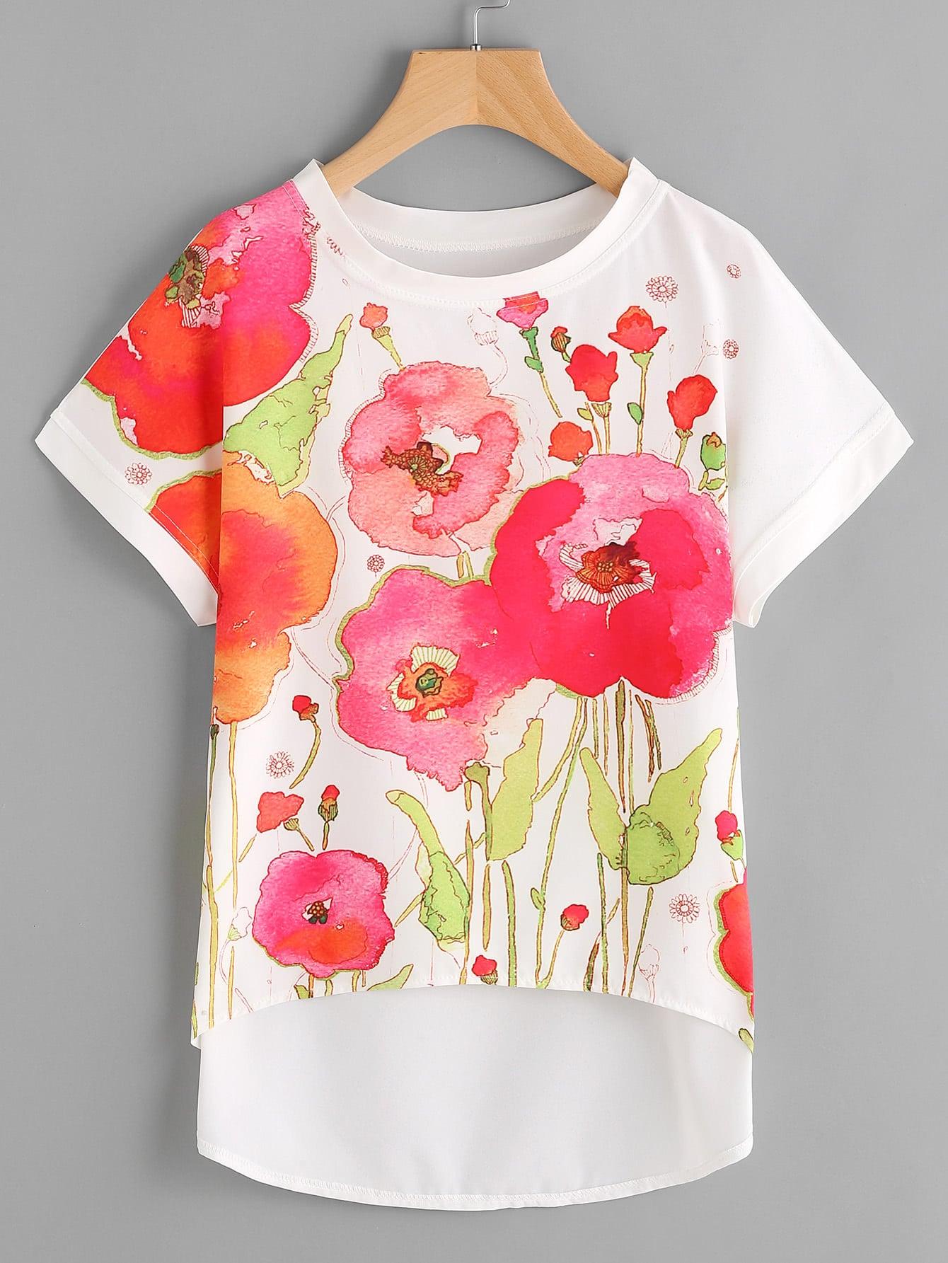 Florals Dip Hem Chiffon Top all over florals dip hem shirt