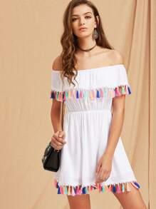 Colorful Tassel Trim Elasticized Waist Frill Bardot Dress