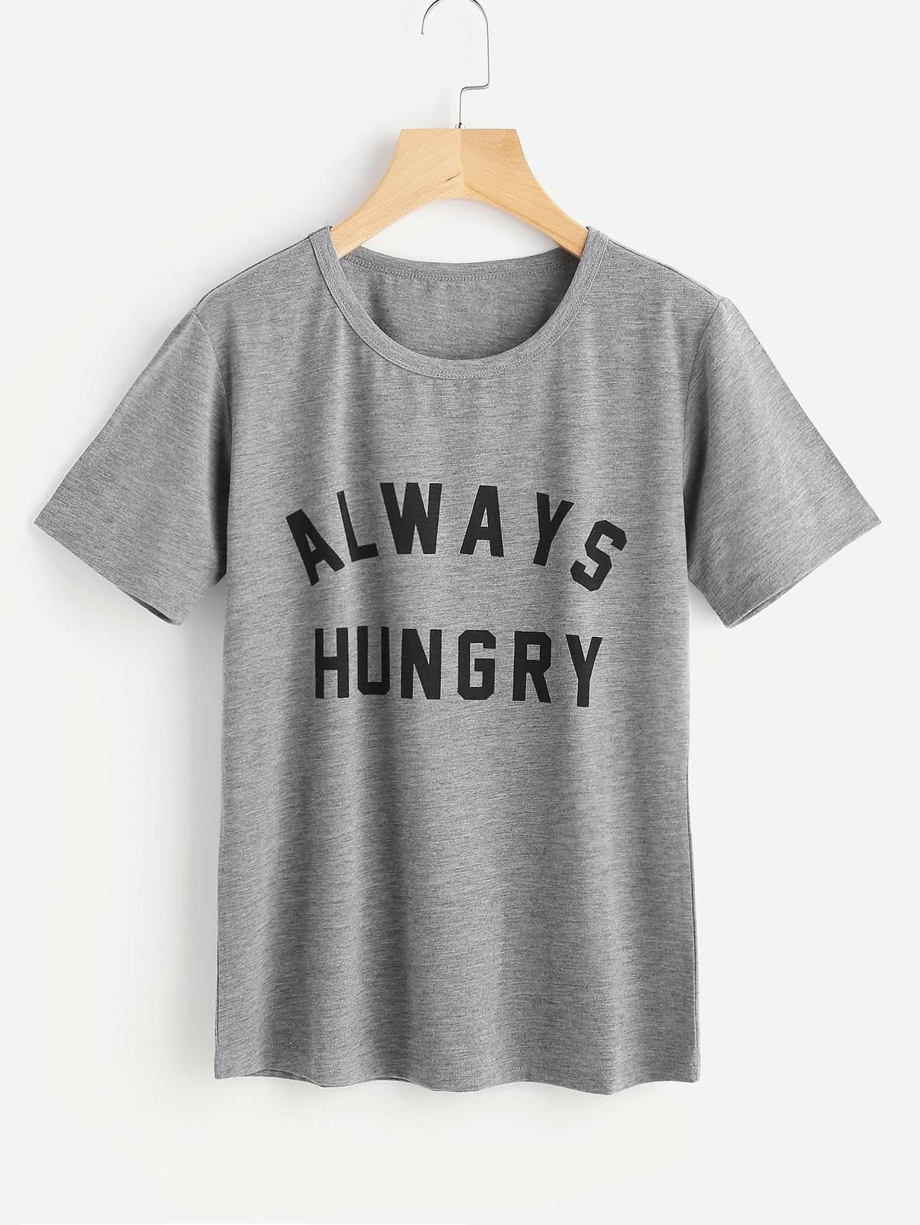 Slogan Print Slub Tshirt striped longline tshirt