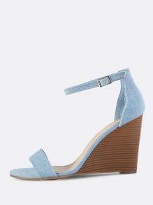 Denim Ankle Strap Wedges BLUE DENIM