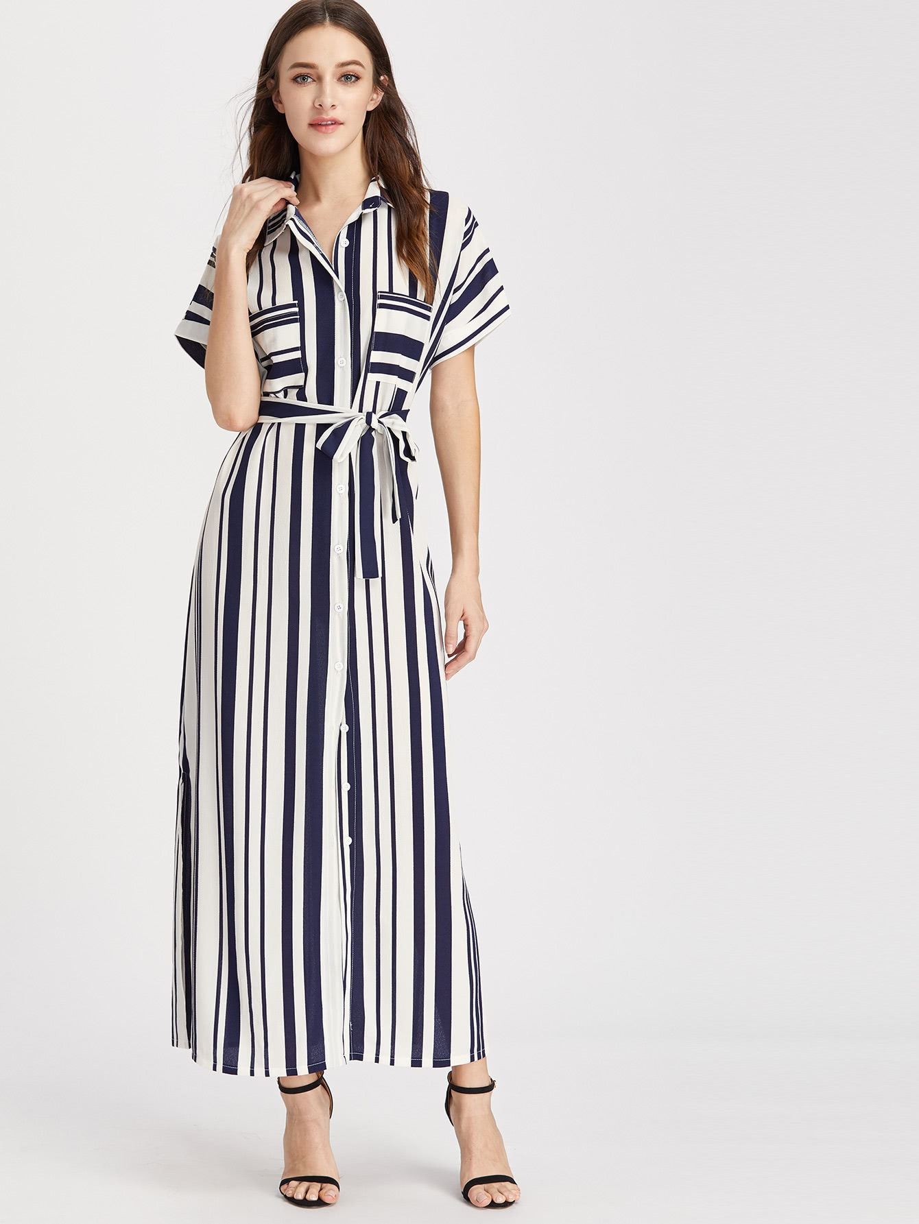 Купить Модное платье-рубашка в полоску с поясом, Maggie, SheIn