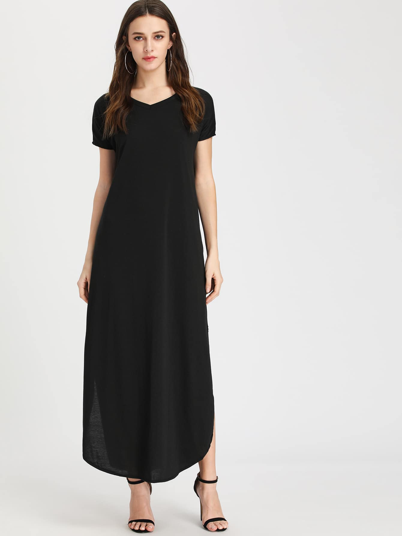 Curved Hem Full Length Tee Dress batwing sleeve pocket side curved hem textured dress