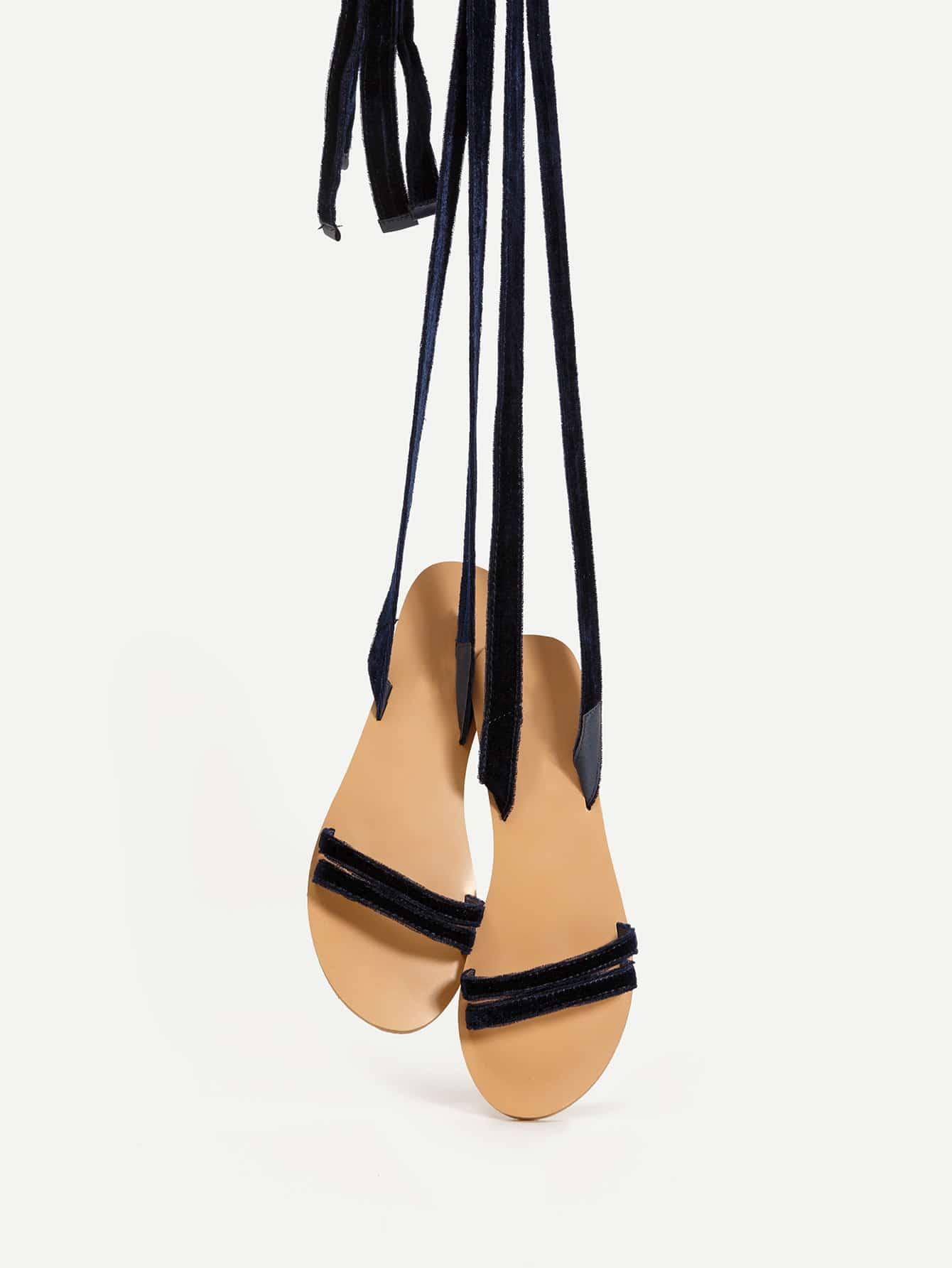 Фото Velvet Lace Up Flat Sandals. Купить с доставкой