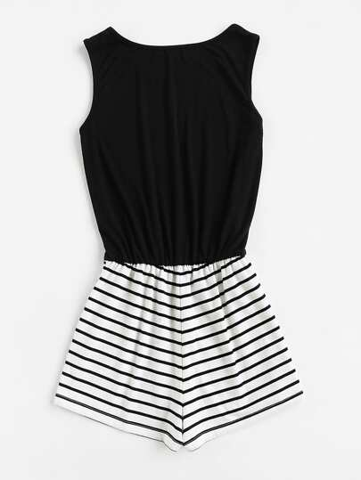 SheIn / Striped Mix And Match Blouson Romper