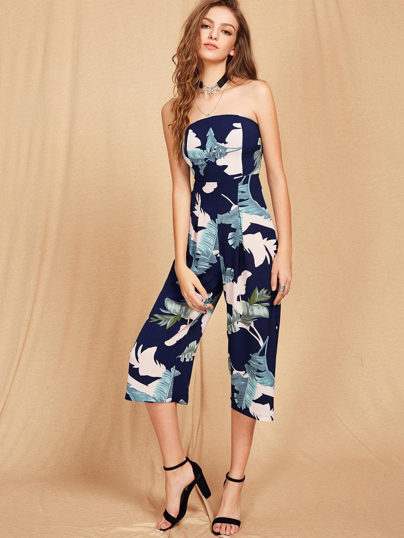 Bardot Tropical Print Backless Jumpsuit jumpsuit170508201