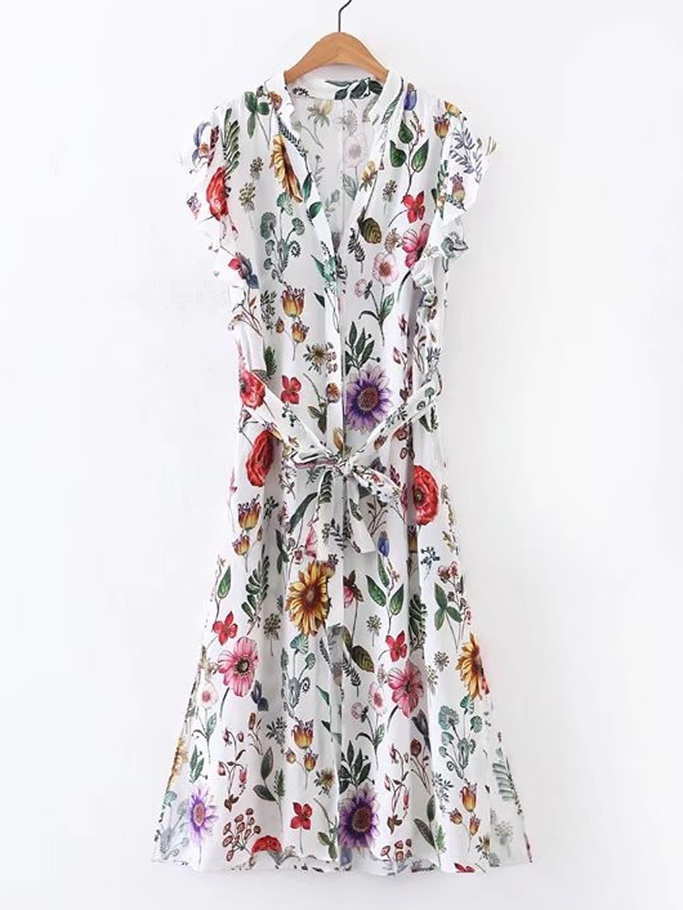 Фото Floral Print Tie Waist Shirt Dress. Купить с доставкой
