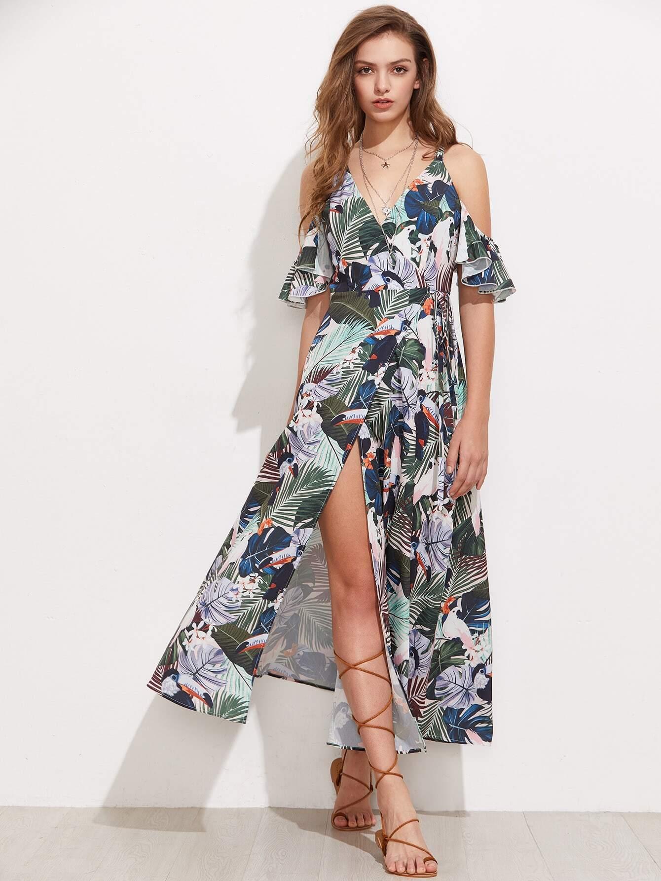 Фото Flutter Sleeve Surplice Wrap Tropical Dress. Купить с доставкой