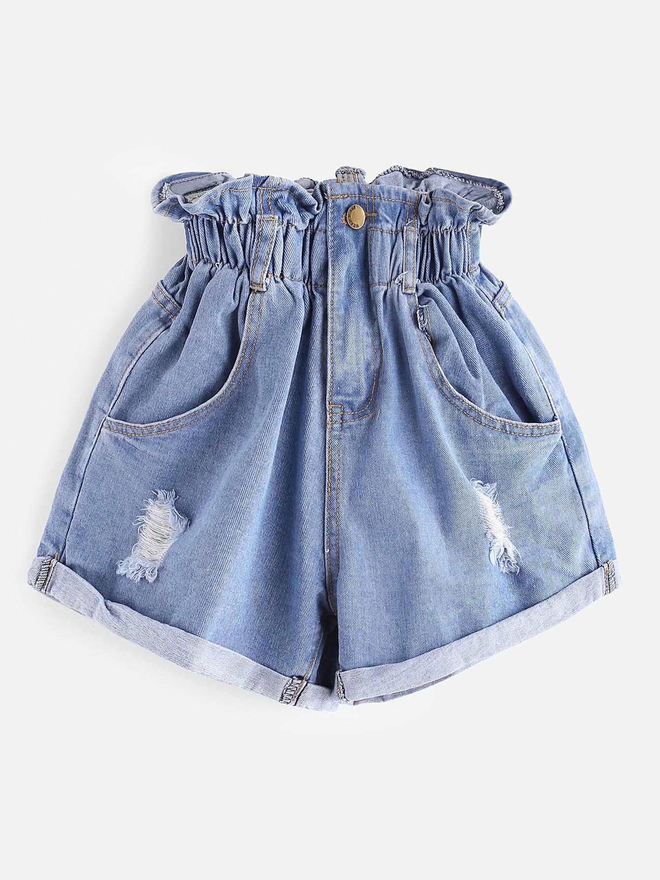 Модные джинсовые шорты с разрезами SheIn