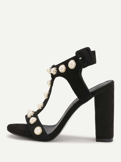 Faux Pearl Detail T Strap Heeled Sandals