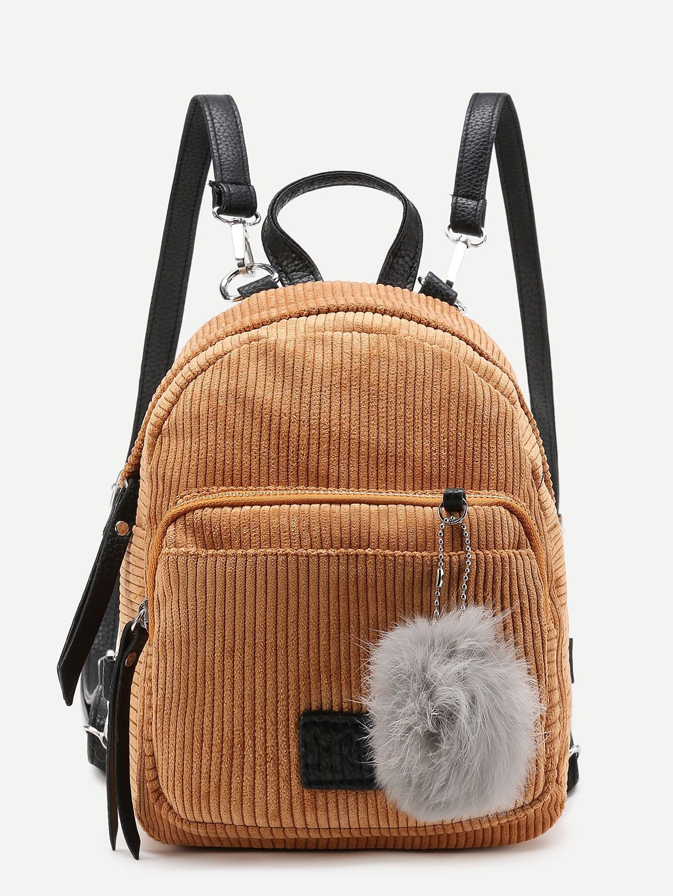 Pom Pom Decorated Corduroy Backpack pom pom decorated hair tie