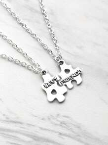 Puzzle Shaped Friendship Pendant Necklace 2pcs