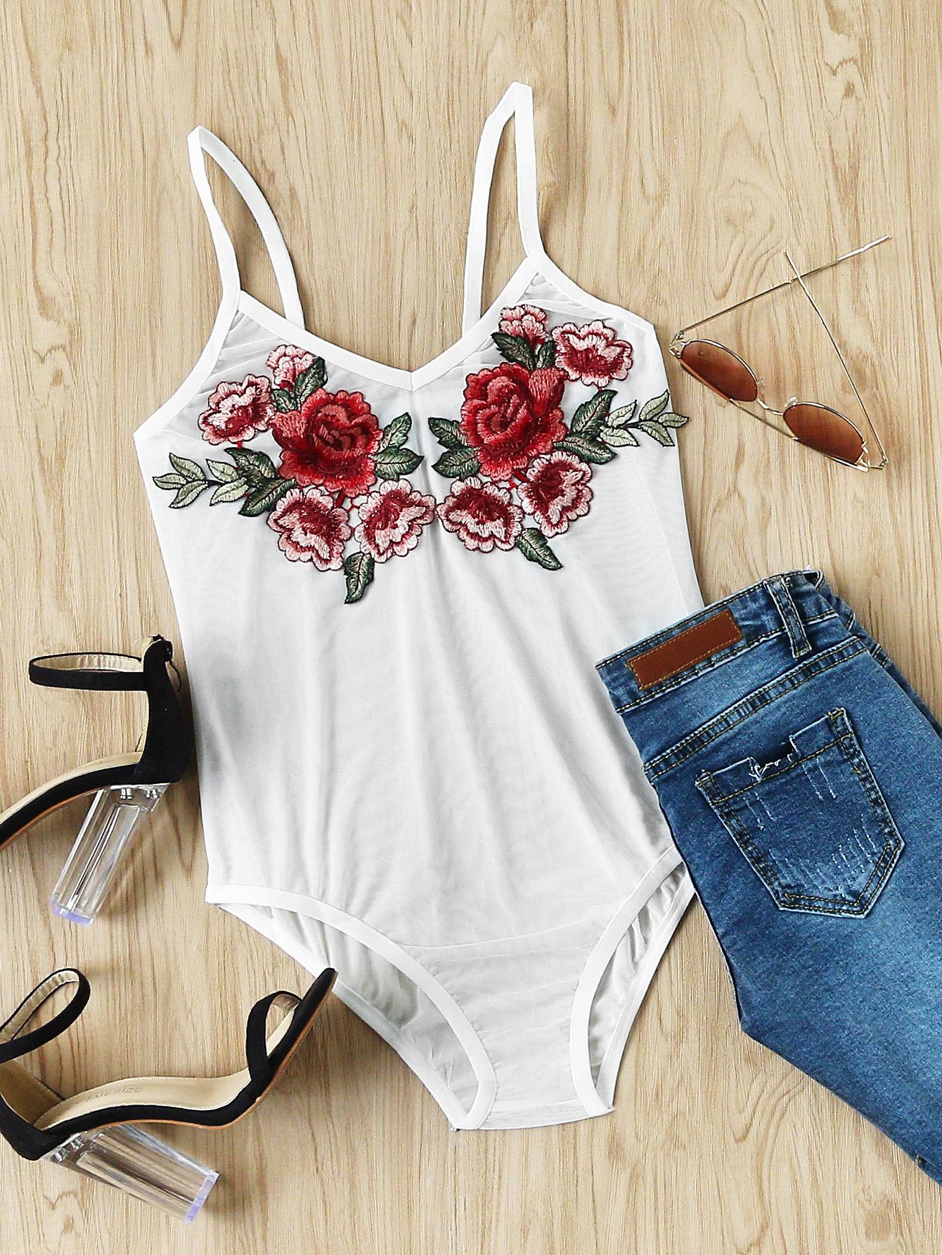 Фото Embroidered Appliques Slip Bodysuit. Купить с доставкой