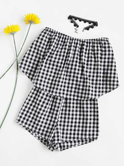 Double Layer Strapless Checkered Romper