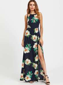 Floral Print Crisscross Backless Slit Dress