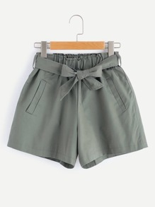 Shirred Waist Shorts With Belt