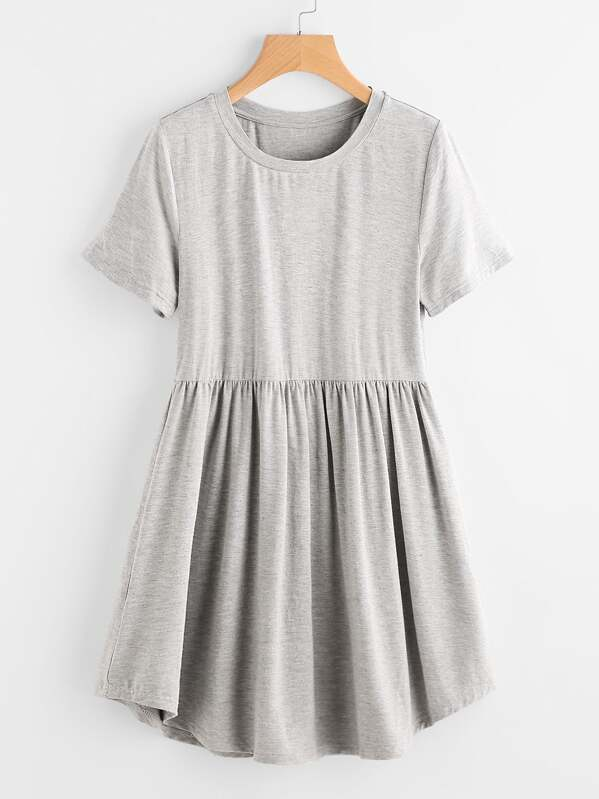 Heather Knit Curved Hem Smock Tee Dress, null