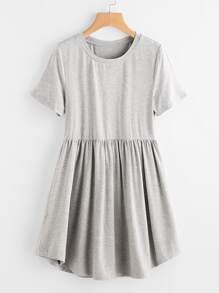 Heather Knit Curved Hem Smock Tee Dress