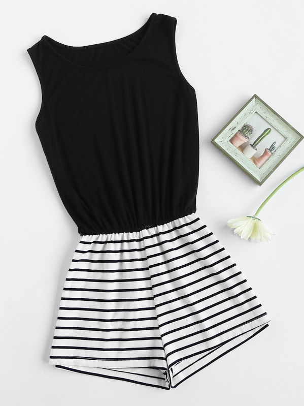 Striped Mix And Match Blouson Romper, null