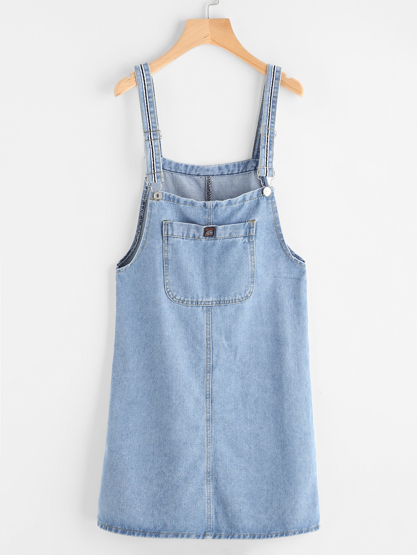 Image of Pinafore Denim Dress With Pockets