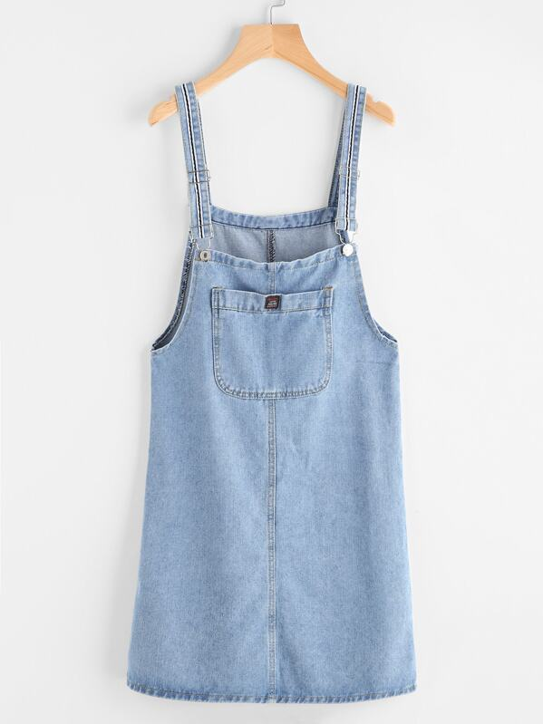 Pinafore Denim Dress With Pockets, null