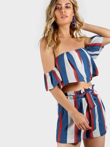 Striped Bardot Crop & Matching Shorts Set INDIGO RED