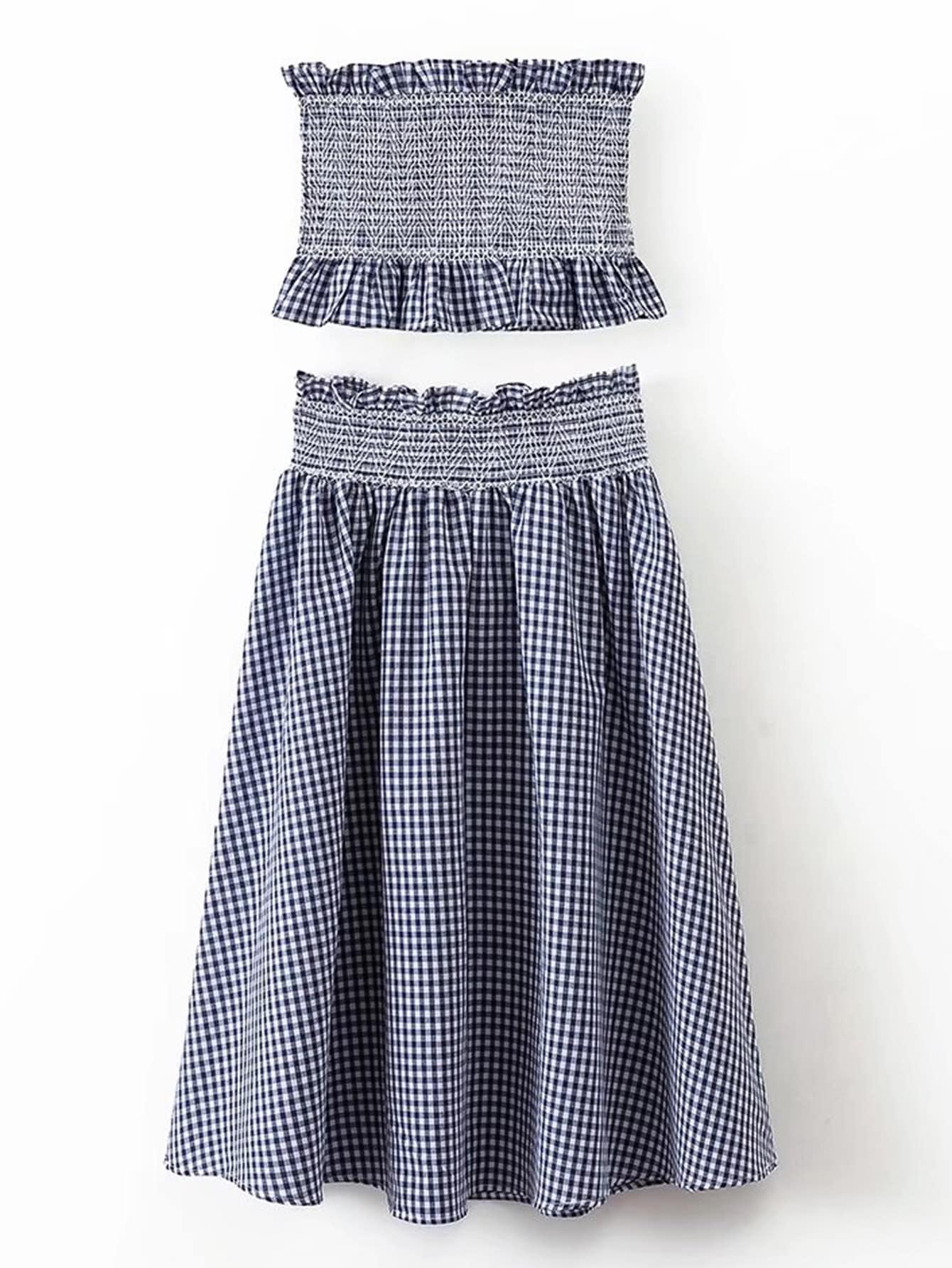 Фото Grid Crop Top With Elastic Waist Skirt. Купить с доставкой